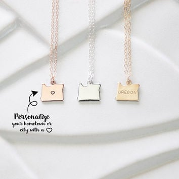 State Charm Oregon Necklaces, I Heart Oregon Ducks, Eugene Oregon Bracelets, Letter Stamp over Portland Oregon, Little State Jewelry