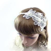 Rhinestone Lace Flowers Crystal & Pearl Bridal Hair band Wedding Jewelry Hair Accessory