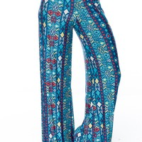 Fashion Fusion Patterned Palazzo Pants - Blue from Bohemian at Lucky 21