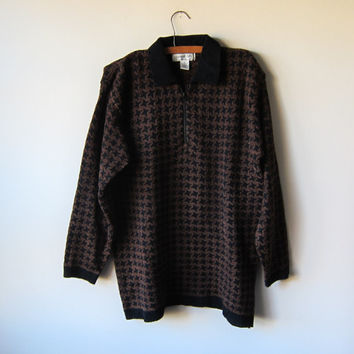 90s Brown Houndstooth Oversized Unisex Pull-Over Zip Sweater -- Grunge Indie Style