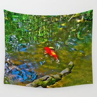 Water Reflections and Koi Fish (oil) Wall Tapestry by Gwendalyn Abrams