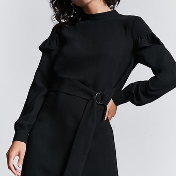 Ruffle Trim Ring Buckle Dress
