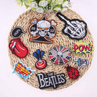 DIY 1PCS Sell Applique Punk Rock Patch Badges For Clothes Stickers Iron On Cheap Embroidered Free Biker Patches For Clothing