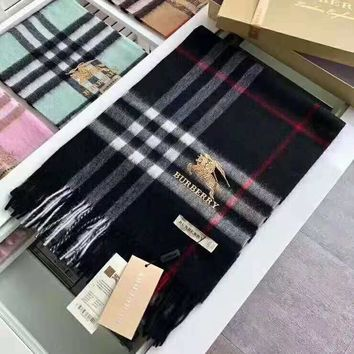 BURBERRY Trending Women Men Stylish Embroidery Plaid Cashmere Cape Scarf Scarves Shawl Accessories Black