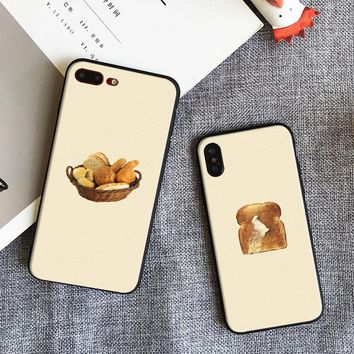 Butter bread basket food cute Pattern Soft Silicone Phone Case shell cover For Apple iPhone 5 5s Se 6 6s 7 8 Plus X XR XS MAX