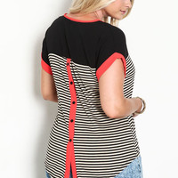 PLUS SIZE STRIPED COLOR BLOCK SHIRT