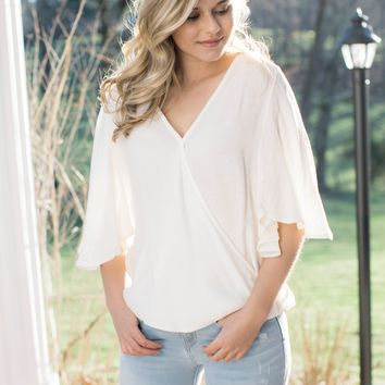 Flutter Sleeve Wrap Top, Off White