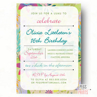Tropical Birthday Party Invitation - Sweet 16 Birthday Invitation (Printable) Luau Birthday Invitation - Hawaiian Birthday Party Invitation