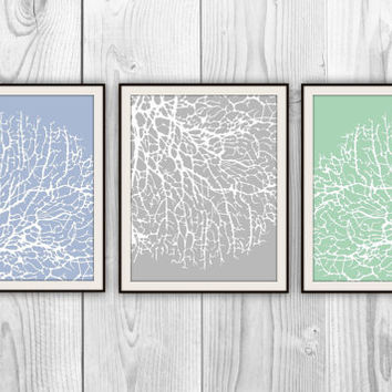 Branching Coral Trio - Set of 3 8x10 Prints - Beach House Bathroom Decor - other colors and sizes available