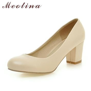Meotina Women Shoes High Heels Ladies Shoes Office Lady Chunky High Heels Women Pumps