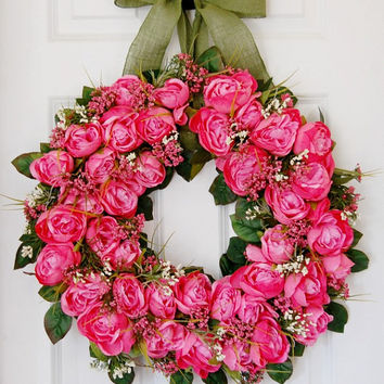Pink Rose Wreath, Front Door Wreath, Wedding Wreath, Spring Wreath, Summer Wreath, Hot Pink, Dark Pink, Rose Wreath