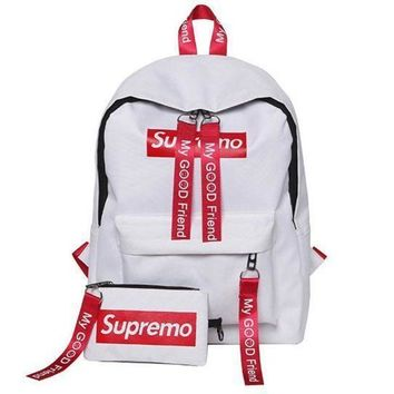 LMFUP0 Supreme Canvas Casual Sport School Shoulder Bag Satchel Laptop Bookbag Backpack Clutch Bag Wristlet Purse Two-Piece