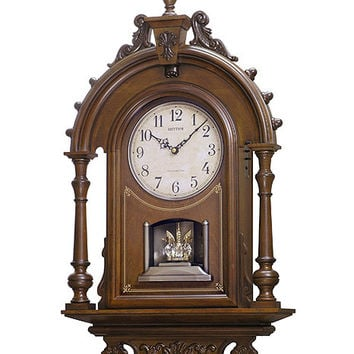 Rhythm WSM Elizabeth II Chiming Musical German Style Wall Clock - Walnut Case