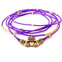 Claddagh Bracelet Set (Gold and Purple)