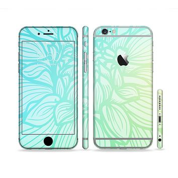 The Faded Blue & Green Subtle Floral Sectioned Skin Series for the Apple iPhone 6