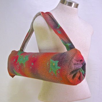 Colorful rayon 90s print Yoga tote - Lightweight Yoga sling for women - Handmade yoga tote from Eugene Oregon