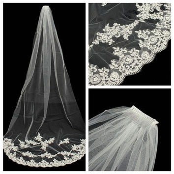 White/Ivory Elegent Cathedral 2.7m Length Bride Veils Wedding Bridal Veil Comb With Lace Edge [7981681095]
