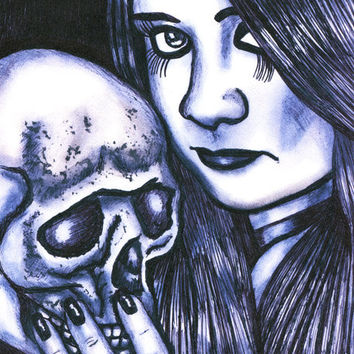 goth girl skull original art print, love, death, pen ink drawing, gothic art prints, together forever, horror