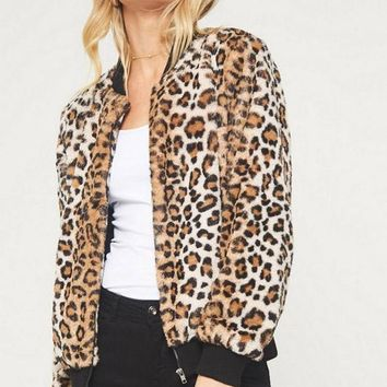 Kixters Running Wild - Brown Faux Leopard Jacket