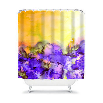 INTO ETERNITY Yellow Lavender Purple Fine Art Shower Curtain Washable Floral Home Decor Colorful Watercolor Painting Modern Style Bathroom