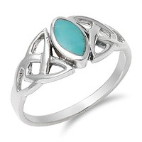 Turquoise Celtic Sterling Silver Ring