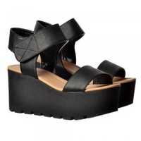 Onlineshoe Chunky Cleated Sole Platform Summer Wedge Sandal - Black, White - Onlineshoe from Onlineshoe UK