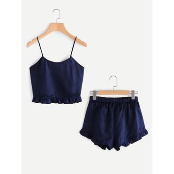 Frill Trim Cami And Shorts Pajama Set