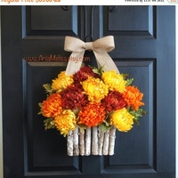 FALL WREATHS SALE fall wreaths autumn wreaths orange brown mums front door wreaths Thanksgiving outdoor wreaths decorations