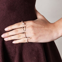Diamond & pink gold four-finger ring | Elise Dray