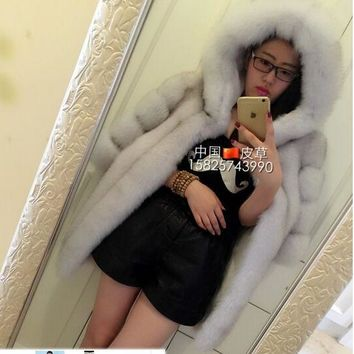 2017 New Fashion Faux Fox Fur Coat Women Winter Medium Long Short Luxury Fake Fur Coats Female Hooded Jacket Overcoat Mink Coat