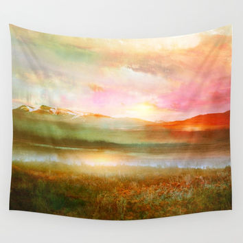 Sunset and flowers Wall Tapestry by vivianagonzlez