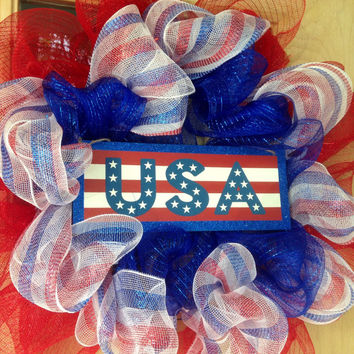 Patriotic Wreath Red, White, and Blue Deco Mesh wreath 4th of July