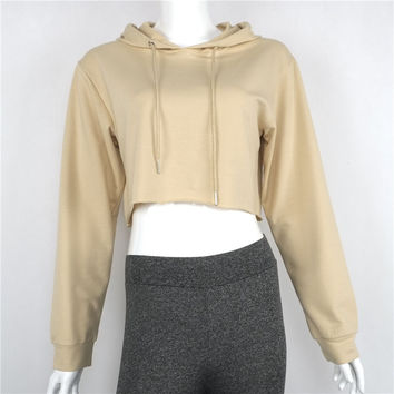 Women's Fashion Casual Loose Punk Hooded Hoodie Long Sleeve Stylish Crop Top Summer Autumn Thin Sweatshirt Khaki Tracksuit