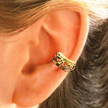 Openwork Leaf design Ear Cuff - Sterling Silver Or Gold Vermeil