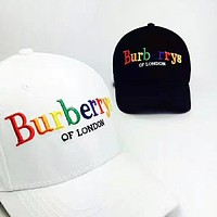 Burberry New fashion embroidery colorful letter couple cap hat