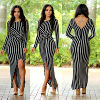White and Black Stripe Ruched Maxi Dress