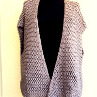 Chunky Sweater Vest Knit Kimono Oversized Sleeves Cardigan Women's Men's Clothing Made to Order FREE SHIPMENT