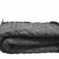 Textiles Plus Inc. Mink Greek Key Textured Sherpa Throw Blanket
