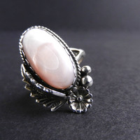 Sterling Silver Pink Mother of Pearl Ring  by MaejeanVINTAGE