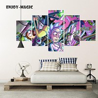 Home Decor Canvas Poster rick and morty Painting Wall Art Modern 5 Piece Oil Painting Picture Panel Print Unframed Canvas A-033