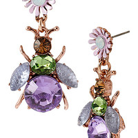 SPRING FLING PURPLE BUG FLOWER DROP EARRINGS PURPLE