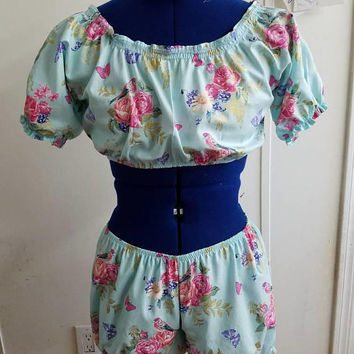 gift - for - her - pinup - rockabilly - floral - bird - retro -  pajama - set -  lingerie - top - and - boxer - boy - short  - set