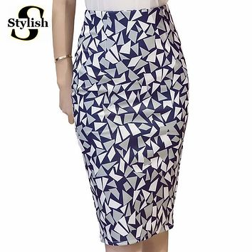 High Waist Skirt Women Geometric Printed Pencil Skirts 2017 Summer Spring New Fashion Korean Knee-Length Ladies Office Clothing