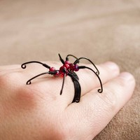 Spider Ring- Adjustable, Halloween Jewelry, Black Widow