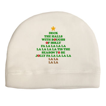 Deck the Halls Lyrics Christmas Tree Child Fleece Beanie Cap Hat
