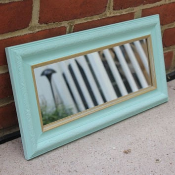 Mint green and gold antique rectangular wall or vanity tray mirror