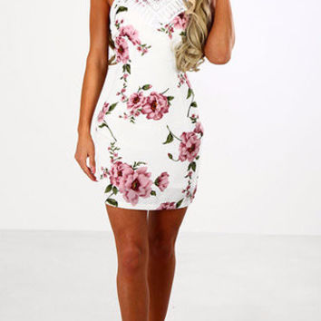 White Floral Print Halter Lace Top Cross Back Bodycon Dress