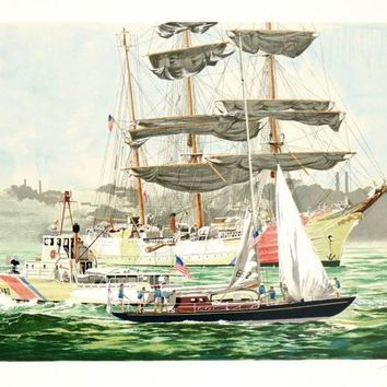 Tall Ships NY Harbor - Limited Edition Serigraph on Paper by Harry Schaare (1922-2008)