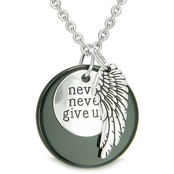"Angel Wing and Inspirational ""Never Never Give Up"" Amulet Black Agate Pendant 22 Inch Necklace"