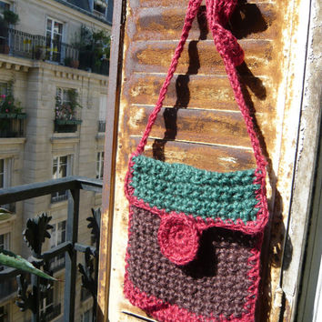 handmade crocheted jute twine bag,colourful,green,red,brown,autumn,fall colors